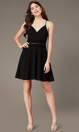 Short Black Homecoming Party Dress with Lace