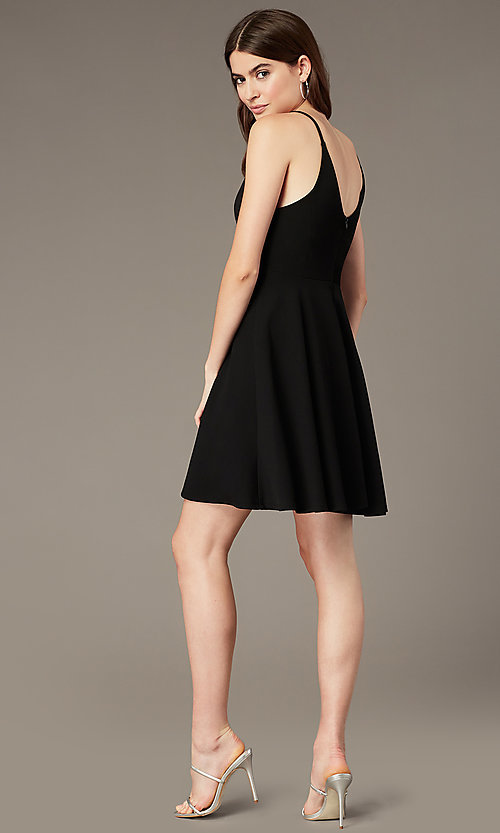 Image of short black homecoming party dress with lace. Style: MY-5879US1C Back Image