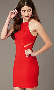 Image of tomato red short homecoming dress with sheer sides. Style: MY-5875US1C Front Image