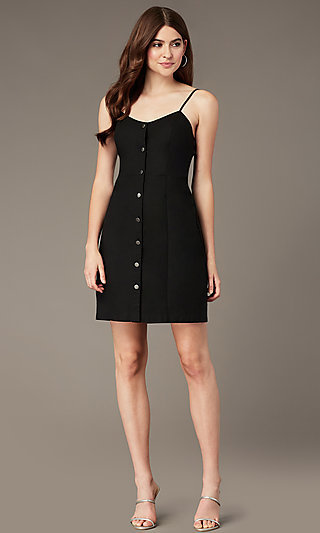Short Button-Front Black Cotton Party Dress