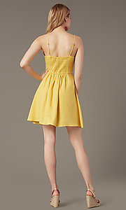 Image of belted short casual party dress in yellow linen. Style: MY-7370SL1D Back Image