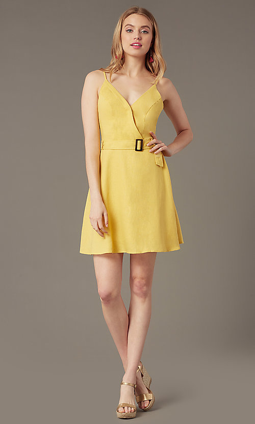 Image of belted short casual party dress in yellow linen. Style: MY-7370SL1D Front Image