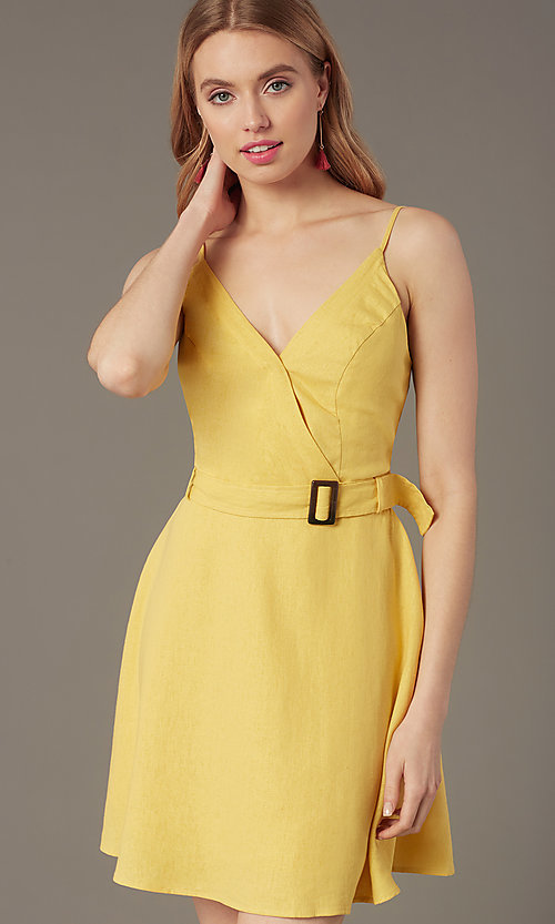 Image of belted short casual party dress in yellow linen. Style: MY-7370SL1D Detail Image 1