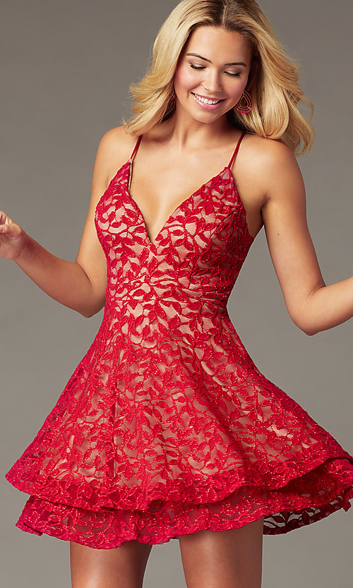 Image of short red lace homecoming dress with tiered skirt. Style: EM-FQP-4186-616 Front Image