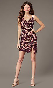 Image of short embroidered hoco sheath dress with slit. Style: EM-FWR-3814-559 Front Image