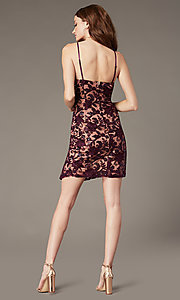 Image of short embroidered hoco sheath dress with slit. Style: EM-FWR-3814-559 Back Image