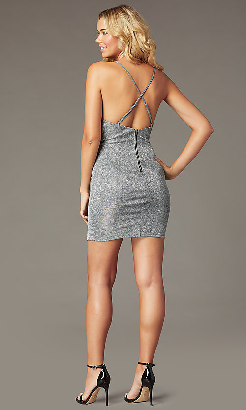 Image of metallic backless short silver homecoming dress. Style: MY-5856LT1C Back Image