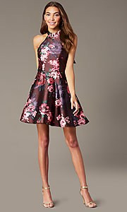 Image short halter homecoming dress with floral print. Style: MY-7486TI1P Detail Image 1