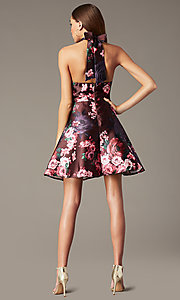 Image short halter homecoming dress with floral print. Style: MY-7486TI1P Back Image