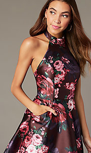Image short halter homecoming dress with floral print. Style: MY-7486TI1P Detail Image 2