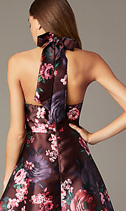 Image short halter homecoming dress with floral print. Style: MY-7486TI1P Detail Image 3