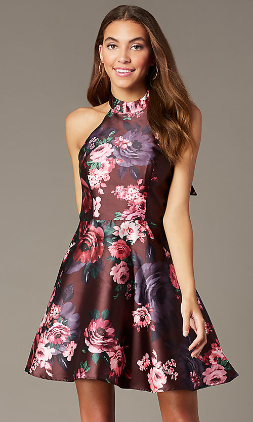 Image short halter homecoming dress with floral print. Style: MY-7486TI1P Front Image