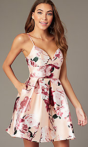 Image of floral-print short v-neck hoco dress with pockets. Style: MY-7405TI1P Front Image