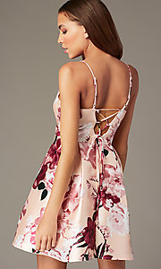 Image of floral-print short v-neck hoco dress with pockets. Style: MY-7405TI1P Back Image