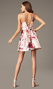 Image of floral-print short v-neck hoco dress with pockets. Style: MY-7405TI1P Detail Image 2