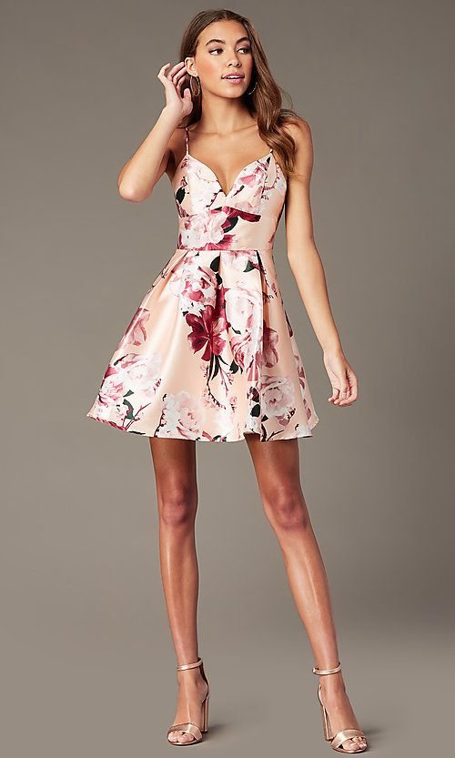 Image of floral-print short v-neck hoco dress with pockets. Style: MY-7405TI1P Detail Image 1