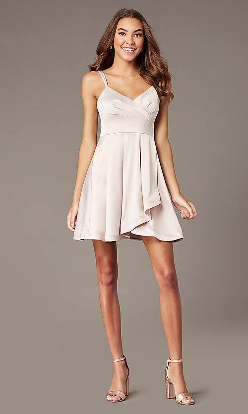 Image of short v-neck buff pink satin homecoming dress. Style: MY-7408YB1P Detail Image 1