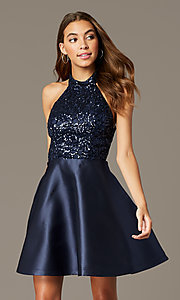 Image of short halter homecoming dress with sequin bodice. Style: MY-7454YP1P Front Image