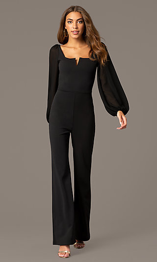 Long Black Party Jumpsuit with Long Sleeves