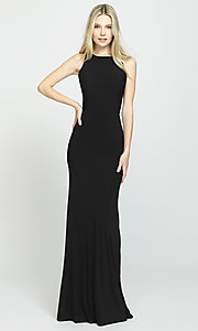 Image of ruched-open-back long prom dress by Madison James. Style: NM-19-104 Detail Image 3