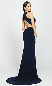 Image of ruched-open-back long prom dress by Madison James. Style: NM-19-104 Back Image