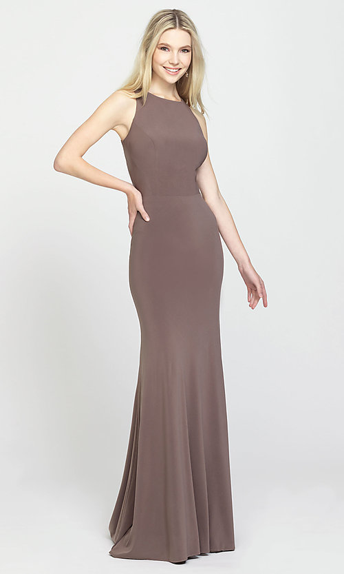 Image of ruched-open-back long prom dress by Madison James. Style: NM-19-104 Detail Image 5