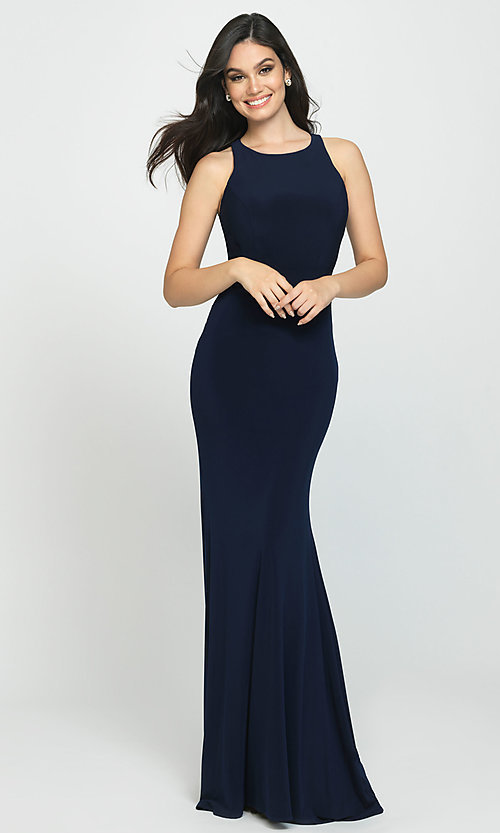 Image of ruched-open-back long prom dress by Madison James. Style: NM-19-104 Front Image