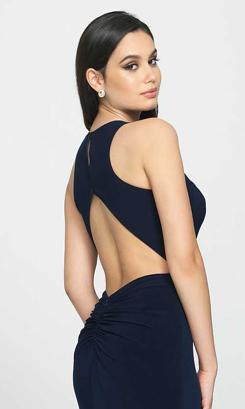 Image of ruched-open-back long prom dress by Madison James. Style: NM-19-104 Detail Image 2