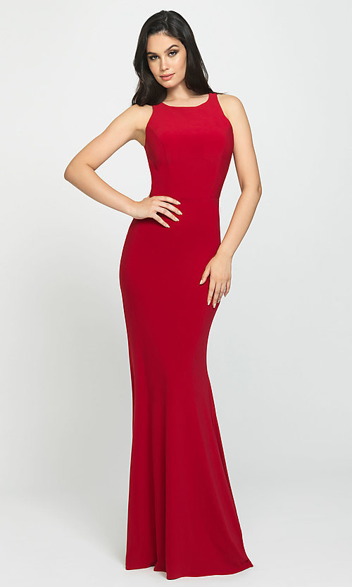 Image of ruched-open-back long prom dress by Madison James. Style: NM-19-104 Detail Image 4