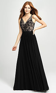 Image of embroidered v-neck long prom dress by Madison James. Style: NM-19-108 Detail Image 5
