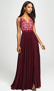Image of embroidered v-neck long prom dress by Madison James. Style: NM-19-108 Detail Image 4