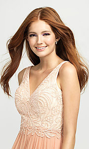 Image of embroidered v-neck long prom dress by Madison James. Style: NM-19-108 Detail Image 1