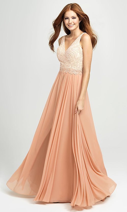 Image of embroidered v-neck long prom dress by Madison James. Style: NM-19-108 Front Image
