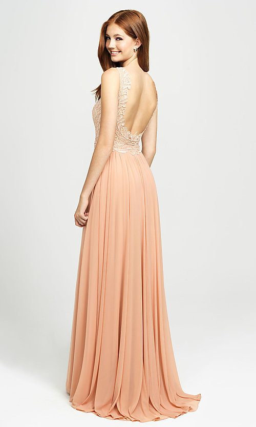 Image of embroidered v-neck long prom dress by Madison James. Style: NM-19-108 Back Image