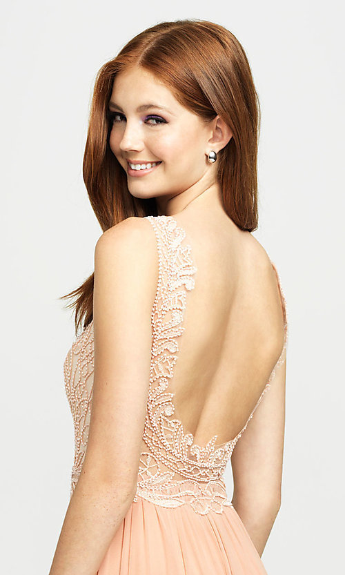 Image of embroidered v-neck long prom dress by Madison James. Style: NM-19-108 Detail Image 2