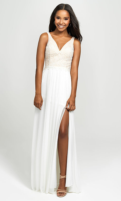 Image of embroidered v-neck long prom dress by Madison James. Style: NM-19-108 Detail Image 3