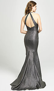 Image of high-neck long mermaid prom dress by Madison James. Style: NM-19-112 Back Image