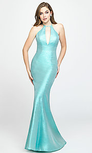 Image of high-neck long mermaid prom dress by Madison James. Style: NM-19-112 Detail Image 4