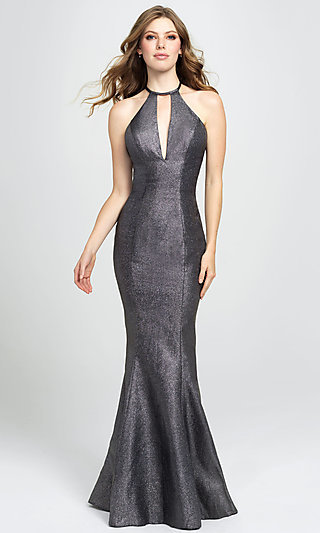 High-Neck Long Mermaid Prom Dress by Madison James