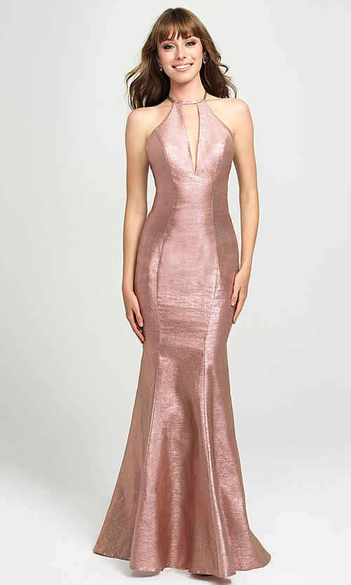 Image of high-neck long mermaid prom dress by Madison James. Style: NM-19-112 Detail Image 3