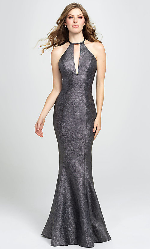 Image of high-neck long mermaid prom dress by Madison James. Style: NM-19-112 Front Image