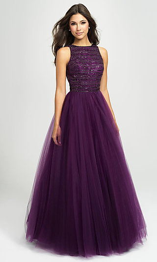 Long Tulle Ball Gown Prom Dress by Madison James