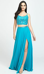 Image of two-piece Madison James long prom dress with beads. Style: NM-19-129 Detail Image 4