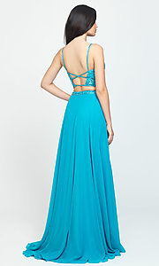 Image of two-piece Madison James long prom dress with beads. Style: NM-19-129 Back Image