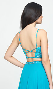 Image of two-piece Madison James long prom dress with beads. Style: NM-19-129 Detail Image 2