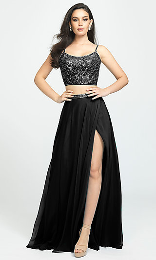 Two-Piece Madison James Long Prom Dress with Beads