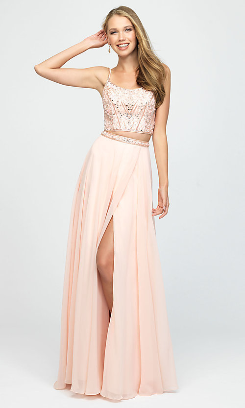 Image of two-piece Madison James long prom dress with beads. Style: NM-19-129 Front Image