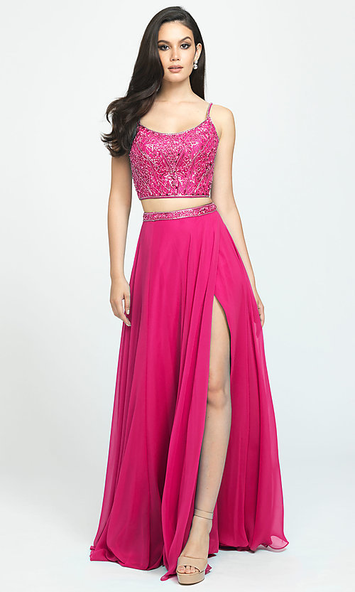 Image of two-piece Madison James long prom dress with beads. Style: NM-19-129 Detail Image 3