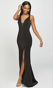 Image of multi-strap long Madison James formal prom dress. Style: NM-19-139 Detail Image 5