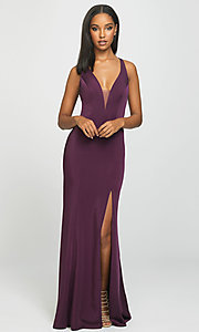 Image of multi-strap long Madison James formal prom dress. Style: NM-19-139 Front Image